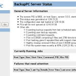 Screenshot of BackupPC software